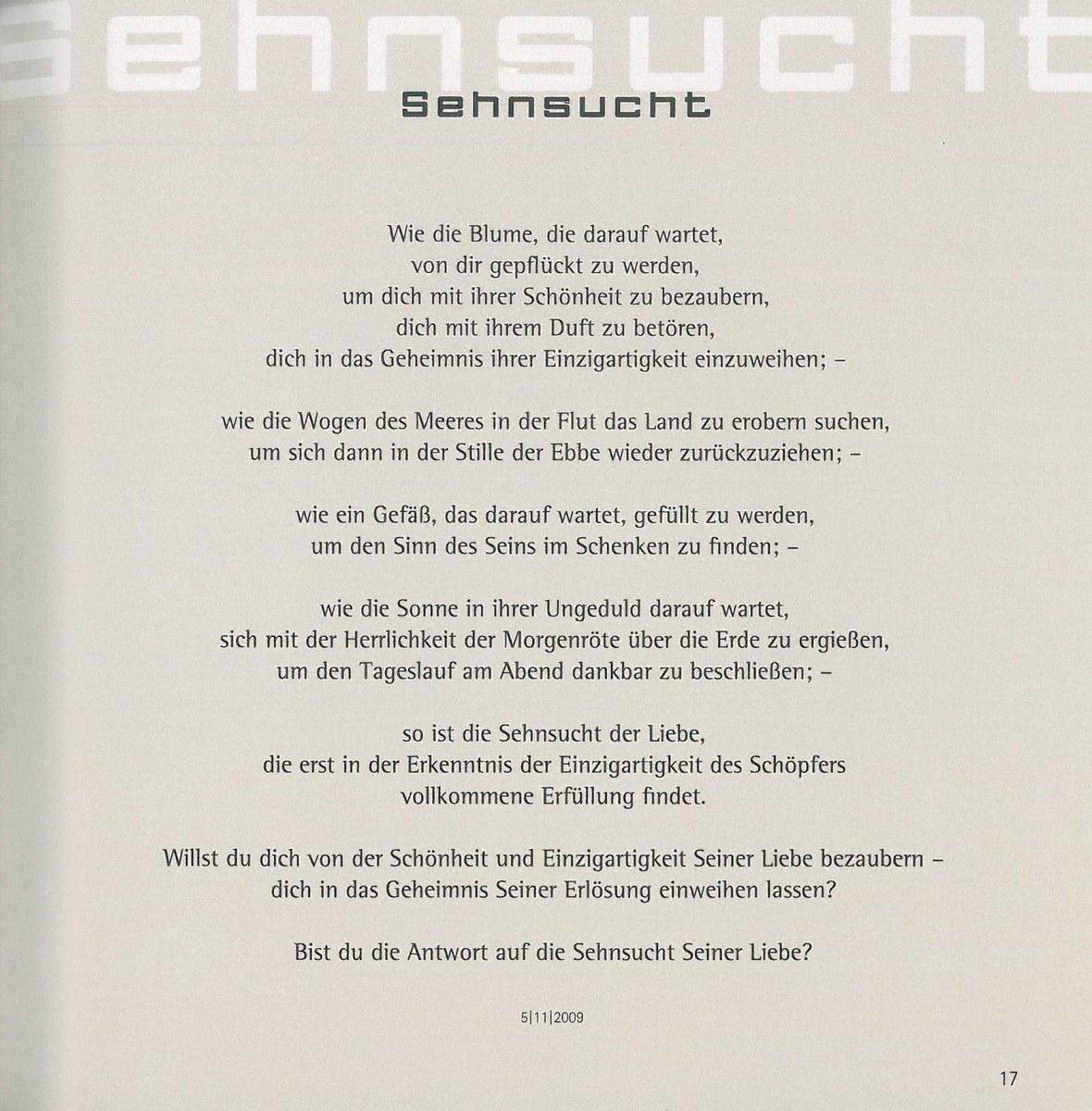 Gedichte sehnsucht und liebe Gedicht vonEva